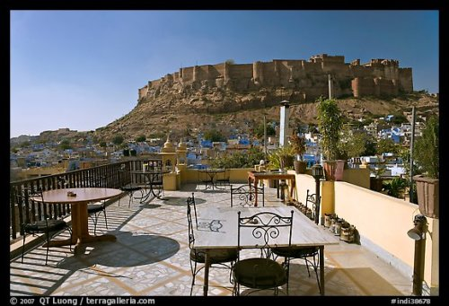 Rooftop restaurant with view on Mehrangarh Fort. Jodhpur, Rajasthan, India