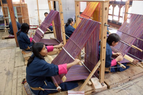 Weaving classroom at the National Institute for Zorig Chusum. Thimphu, Bhutan.