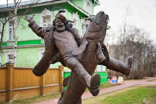 Monument to the peasant riding on burbot in Arkhangelsk