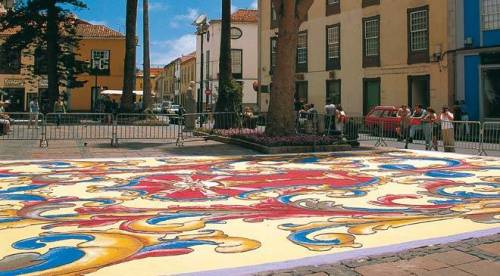 can san cristobal flowers in square during festival