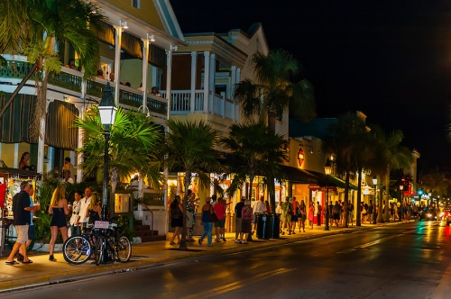 Duval Street at night, Key West, Florida Keys, Florida USA