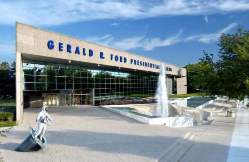 Exterior of Gerald F. Ford Presidential Library and Museum in Gr