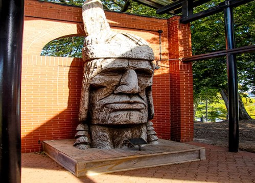 ark river front park historypavilion3 indian statue